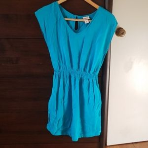 Teal blue sleeveless dress